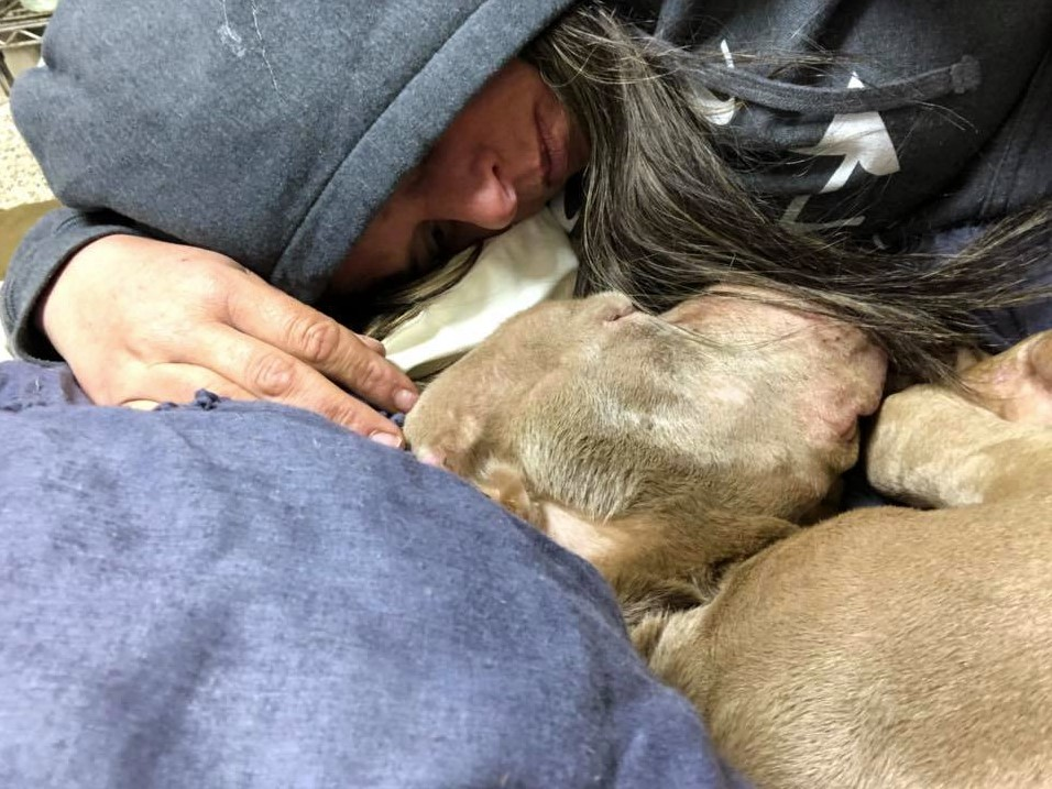 The woman spends the whole night in the lodge holding her dying dog so he will not go alone