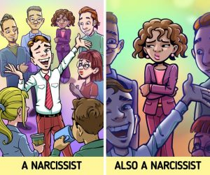 narcissists are outgoing.
