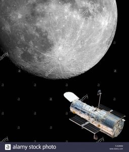 Hubble Telescope moon space