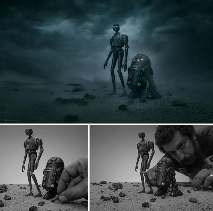 Miniature props were used to create these dramatic photos.