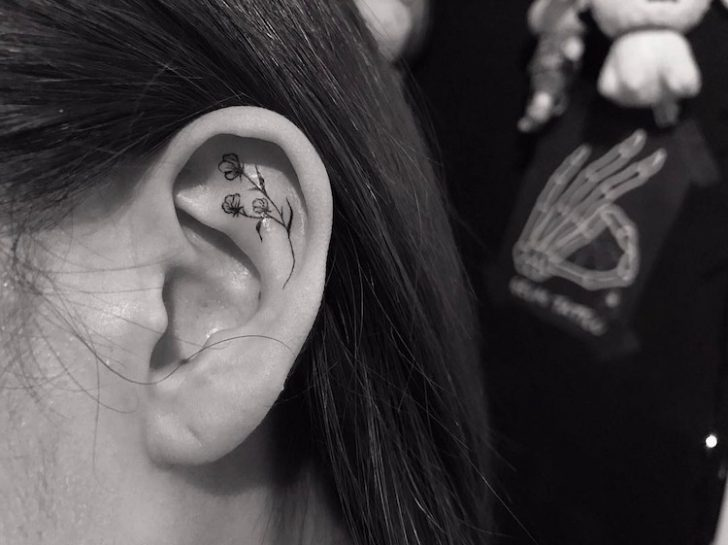 The Latest Hype Is The New Minimalist Tattoo Trend Along The Ear Lobes.
