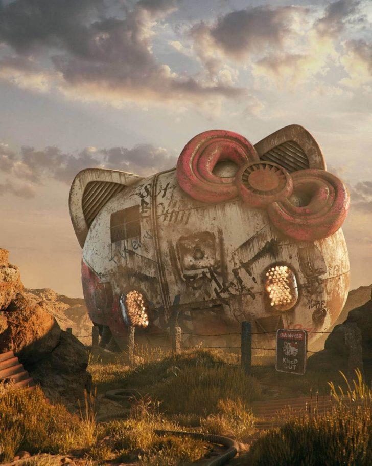 To imagine a modern pop culture in ruins, an artist creates art.